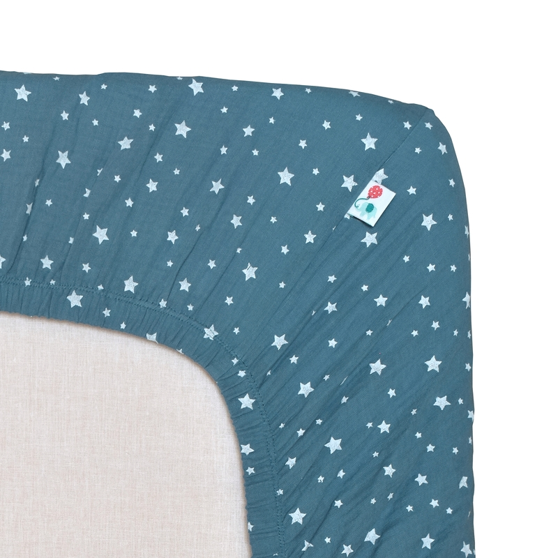 Cradle Sheet 'Stars' Muslin Smokey Blue 40x80cm