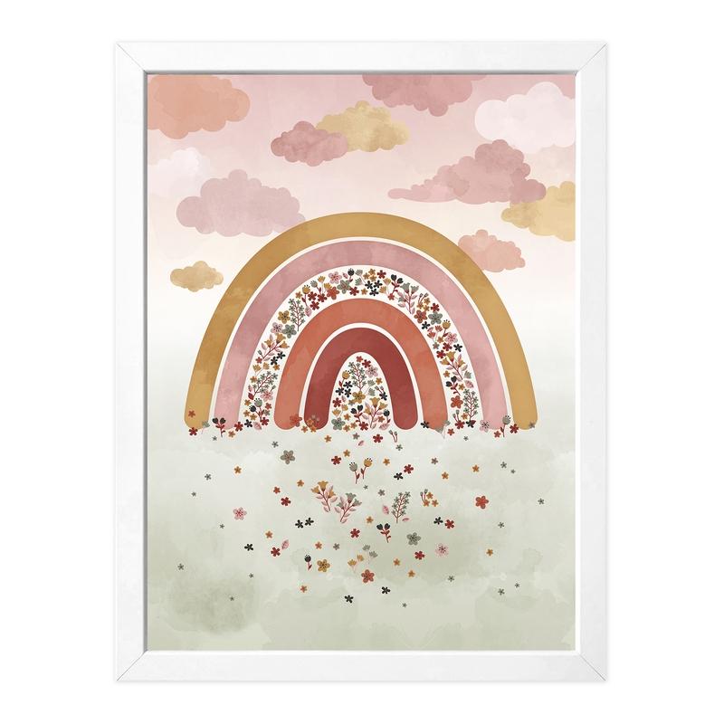 Poster 'Flowery Rainbow' Dusty Rose 30x40cm