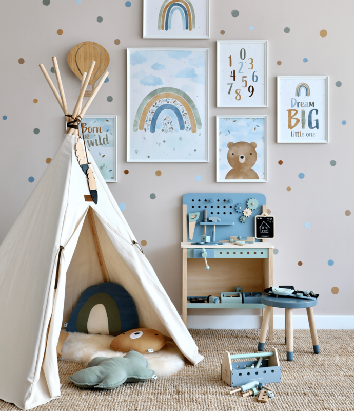 Playroom with picture gallery, wooden toys & tipi