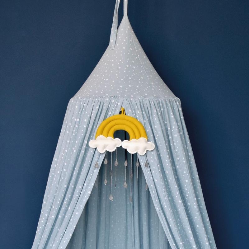 Bed Canopy Muslin Stars Pastel Blue 250cm Handmade