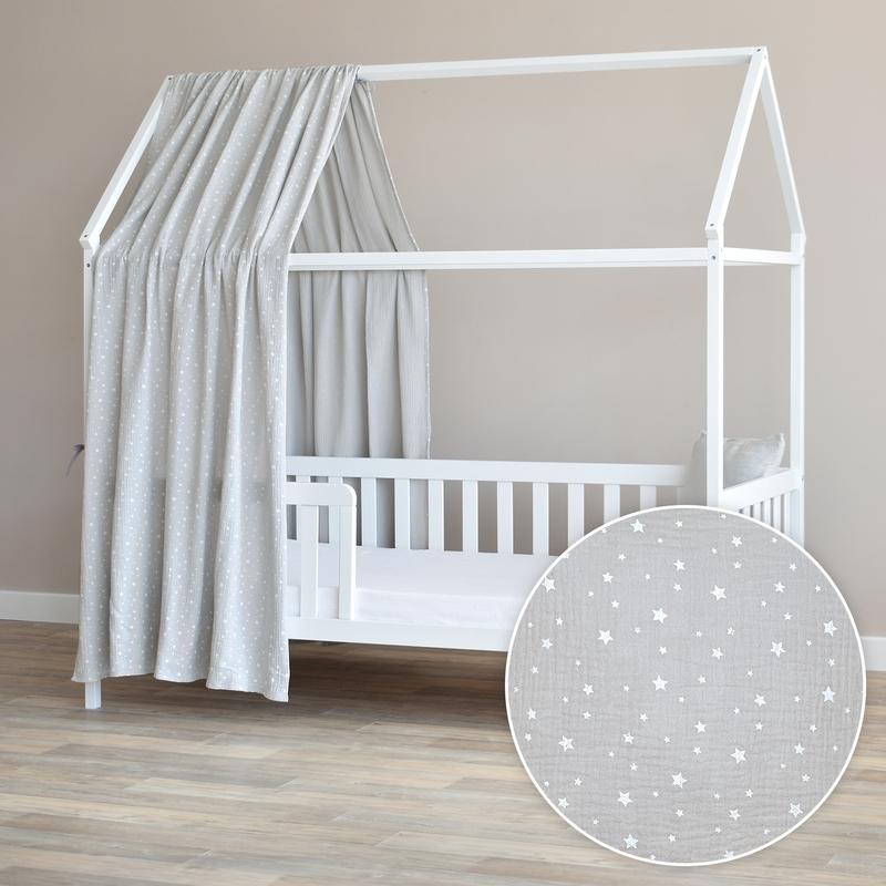 House Bed Canopy 'Stars' Light Grey 350cm 1 Piece