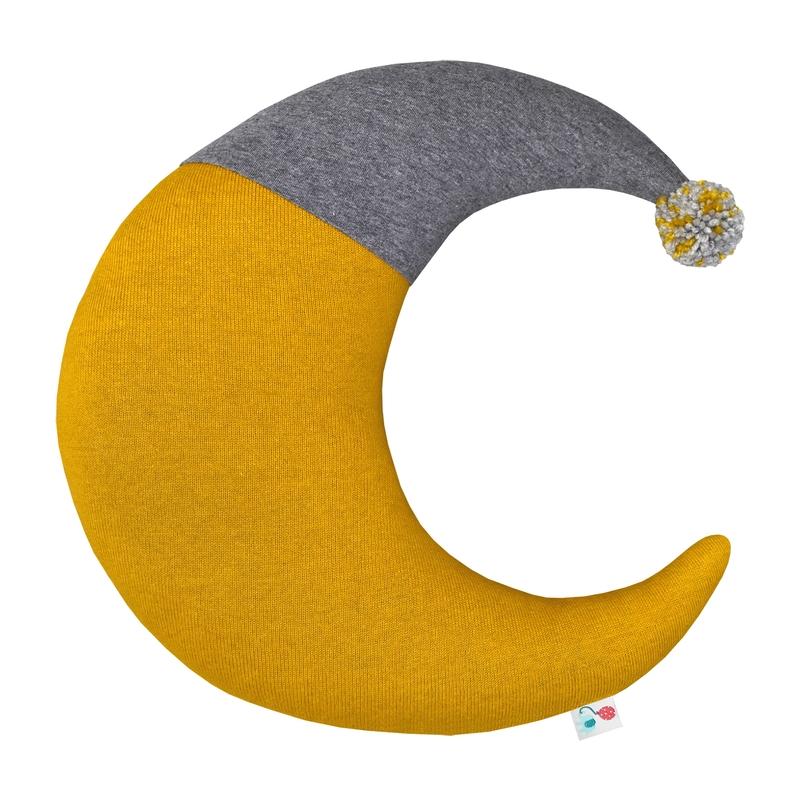 Cushion 'Moon' Knit Mustard 38cm