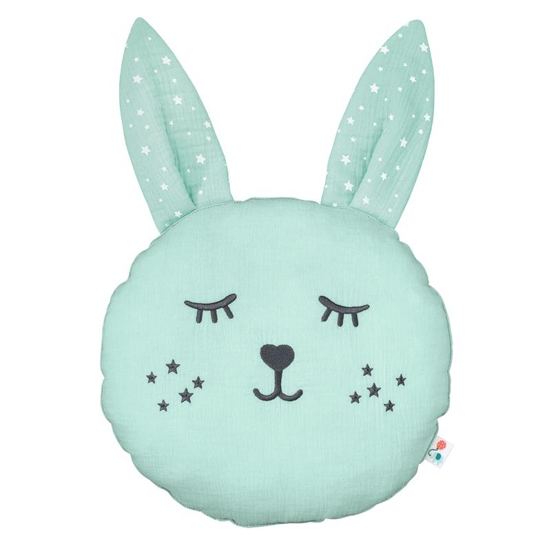 Cushion 'Rabbit' Muslin Embroidered Mint 30cm