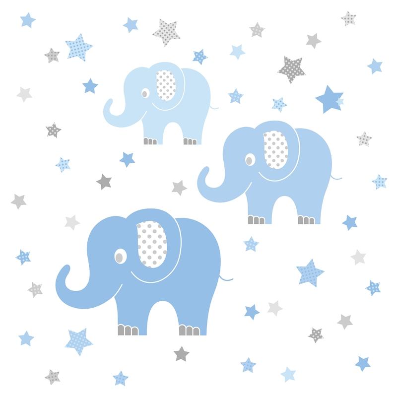 Wandsticker 'Elefanten' blau/grau 48-tlg.