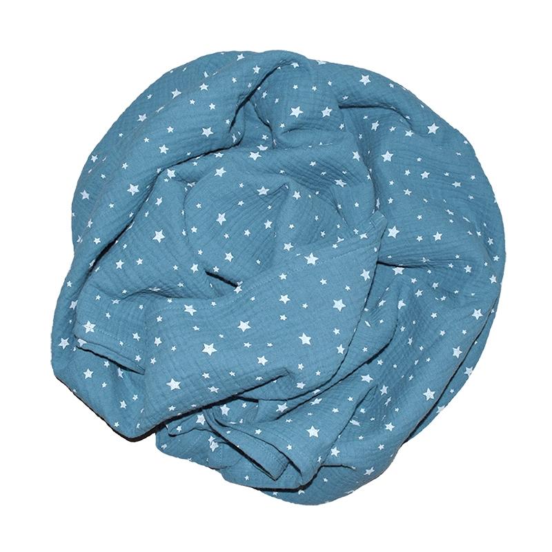 Pucktuch 'Sterne' rauchblau 120x120cm