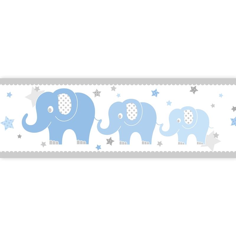 Wall Border 'Elephants' Blue Self-adhesive