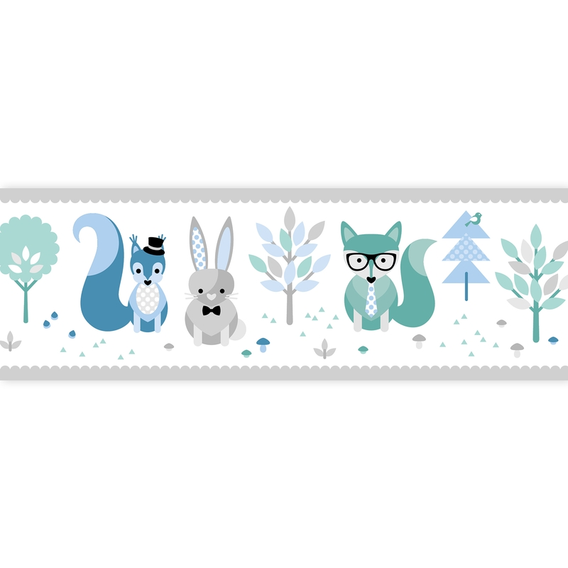 Wall Border 'Forest Animals' Blue/Mint Self-adhesive