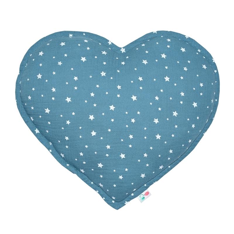 Cushion 'Heart' Muslin Smokey Blue 35cm