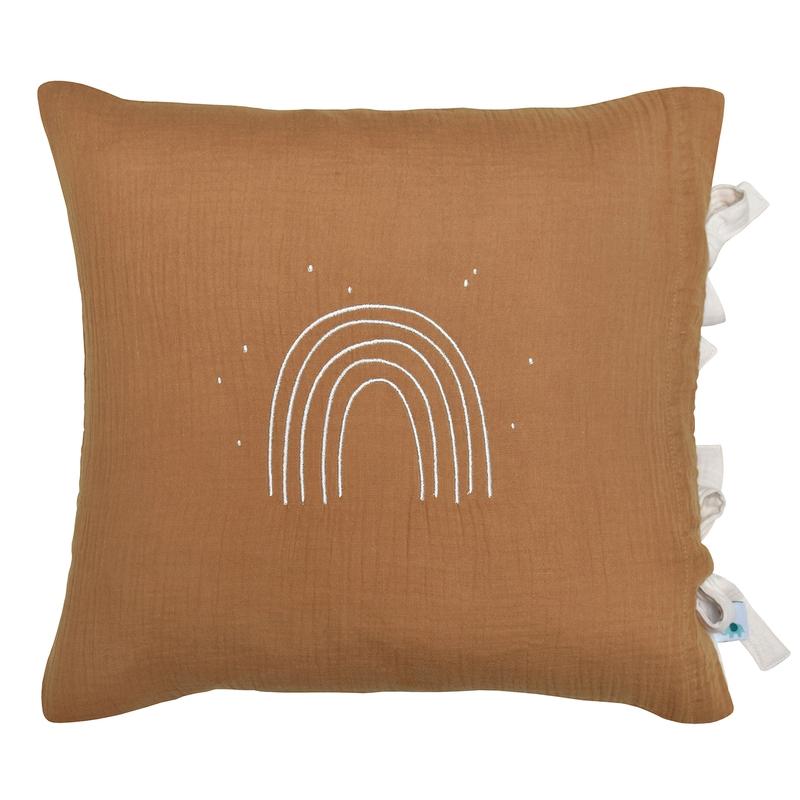 Pillowcase 'Rainbow' Muslin Embroidered Camel 40x40cm