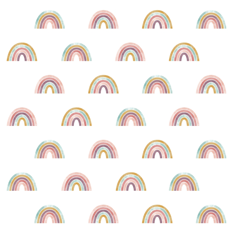 Wandsticker aus Stoff 'Regenbögen' altrosa