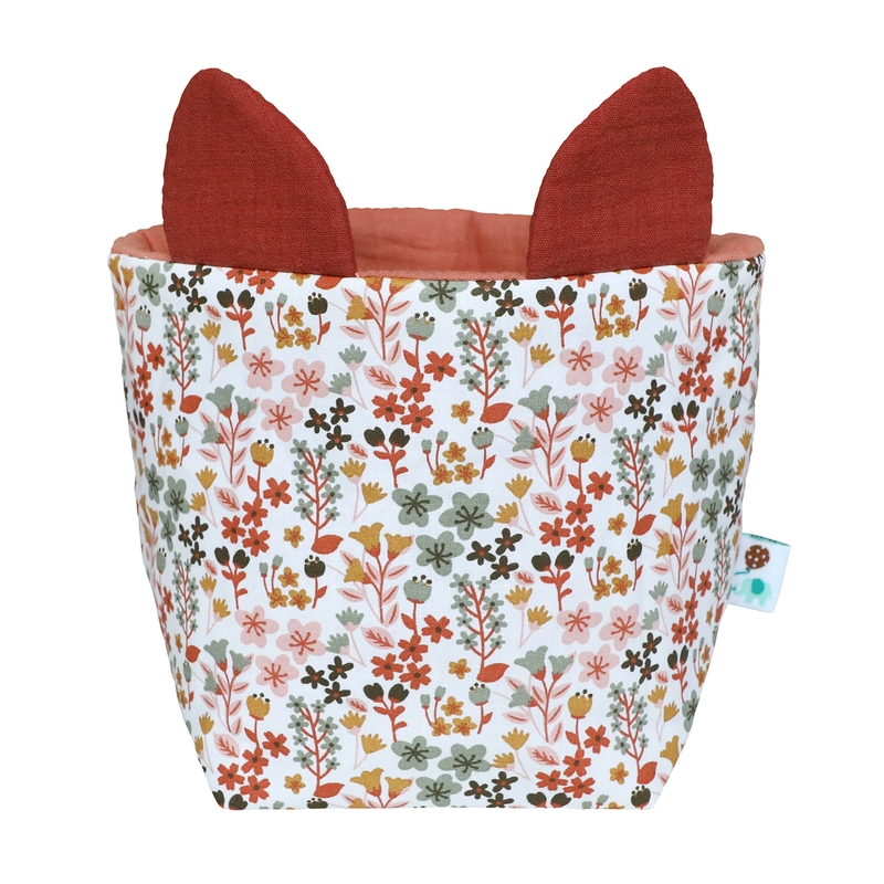 Fabric Basket With Ears 'Flowers' Rusty Red 26cm