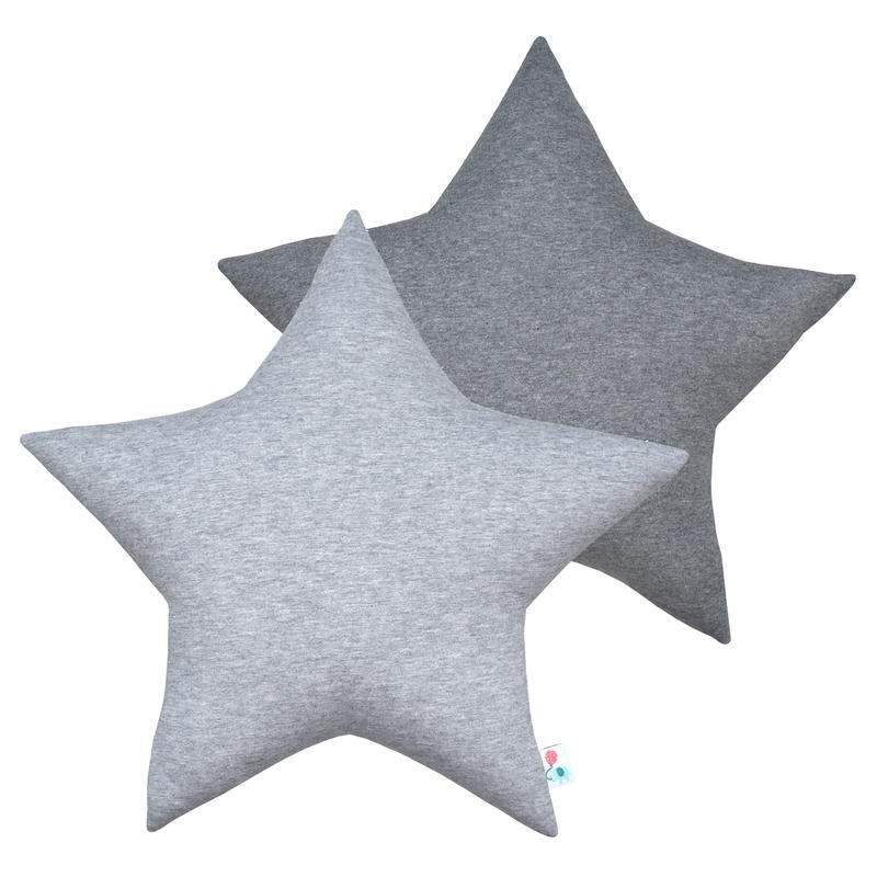 Kissen 'Stern' Jersey grau 39cm