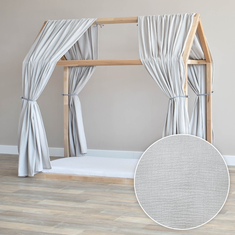 House Bed Canopy Set Of 2 Light Grey 315cm