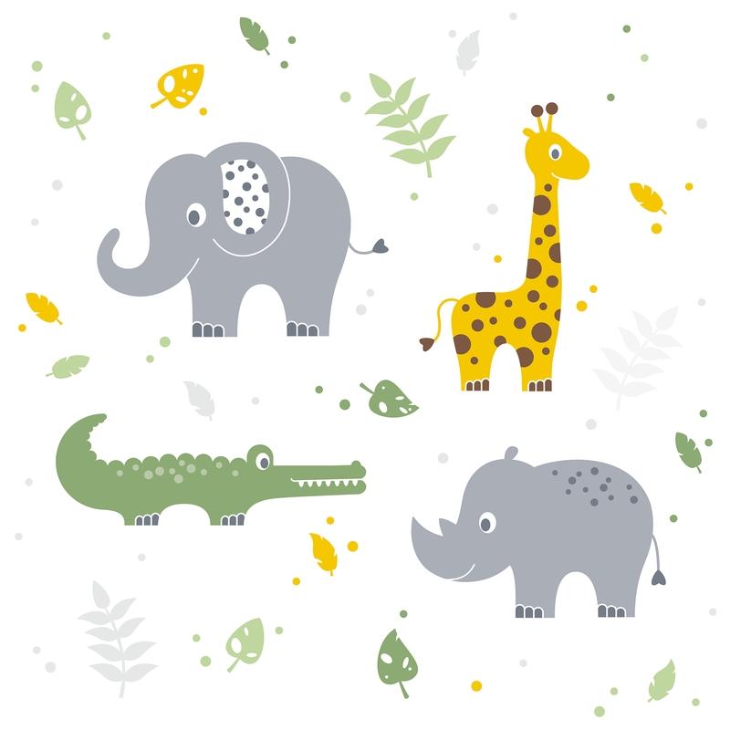 Wall Stickers 'Safari' Yellow/Green/Grey
