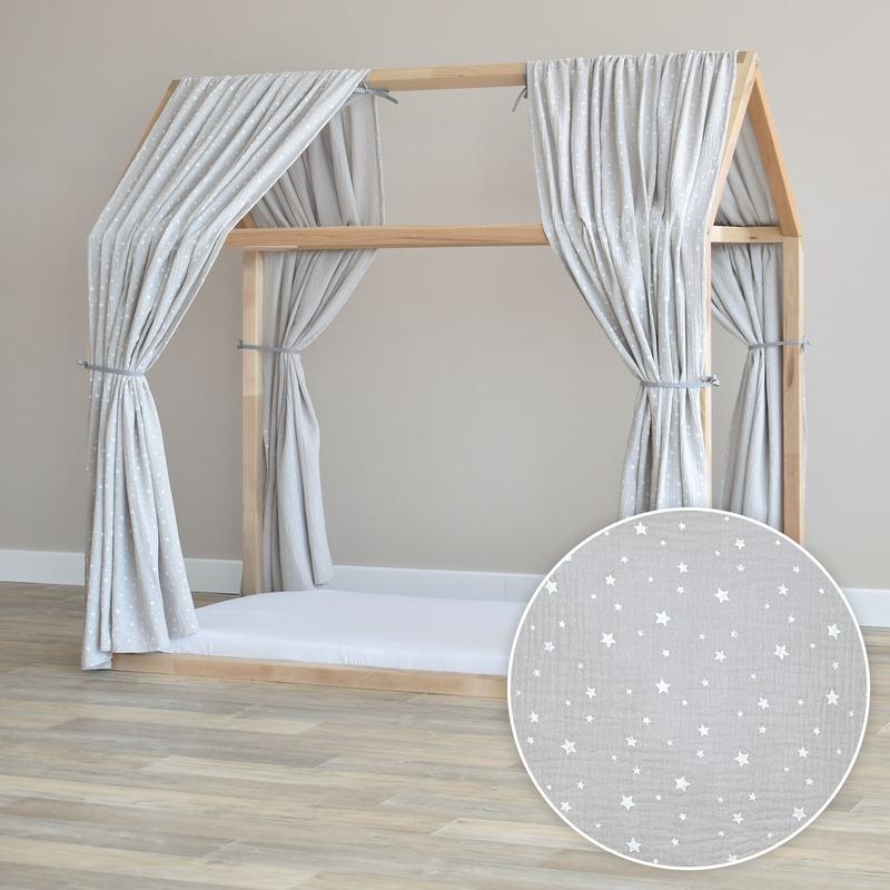 House Bed Canopy Set Of 2 'Stars' Light Grey 315cm