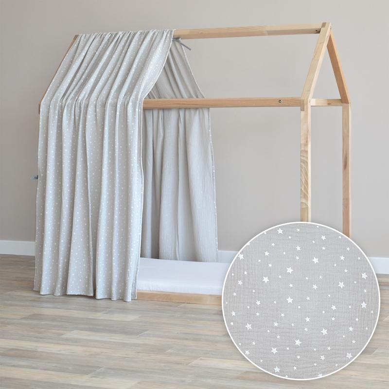 Hausbett-Himmel 'Sterne' hellgrau 315cm 1 Stück