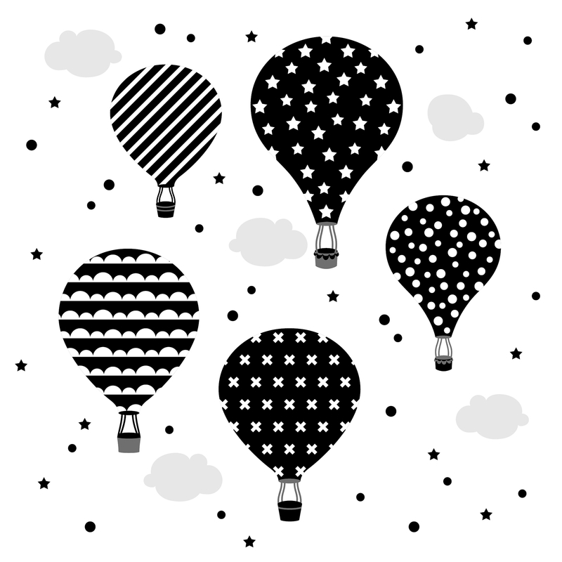 Wall Stickers 'Hot Air Balloons' Black/White