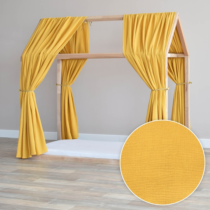 House Bed Canopy Set Of 2 Mustard 315cm