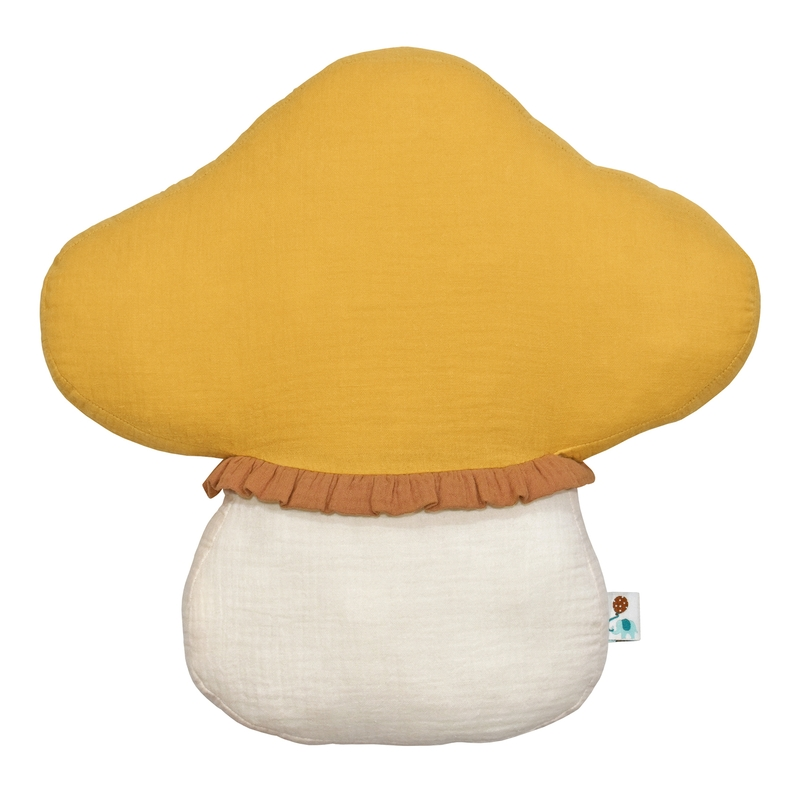 Kissen 'Pilz' Musselin senfgelb/creme 35cm