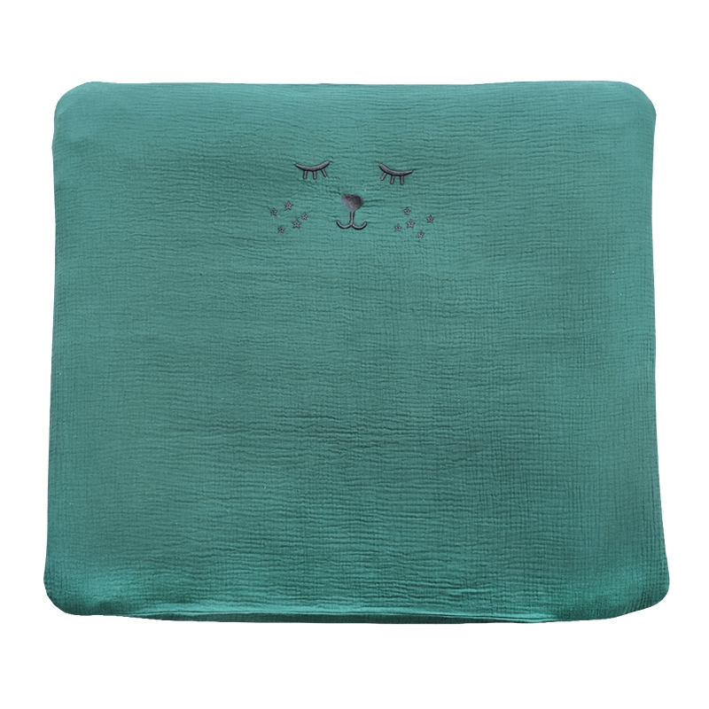 Changing Pad Cover Muslin Embroidered Jade