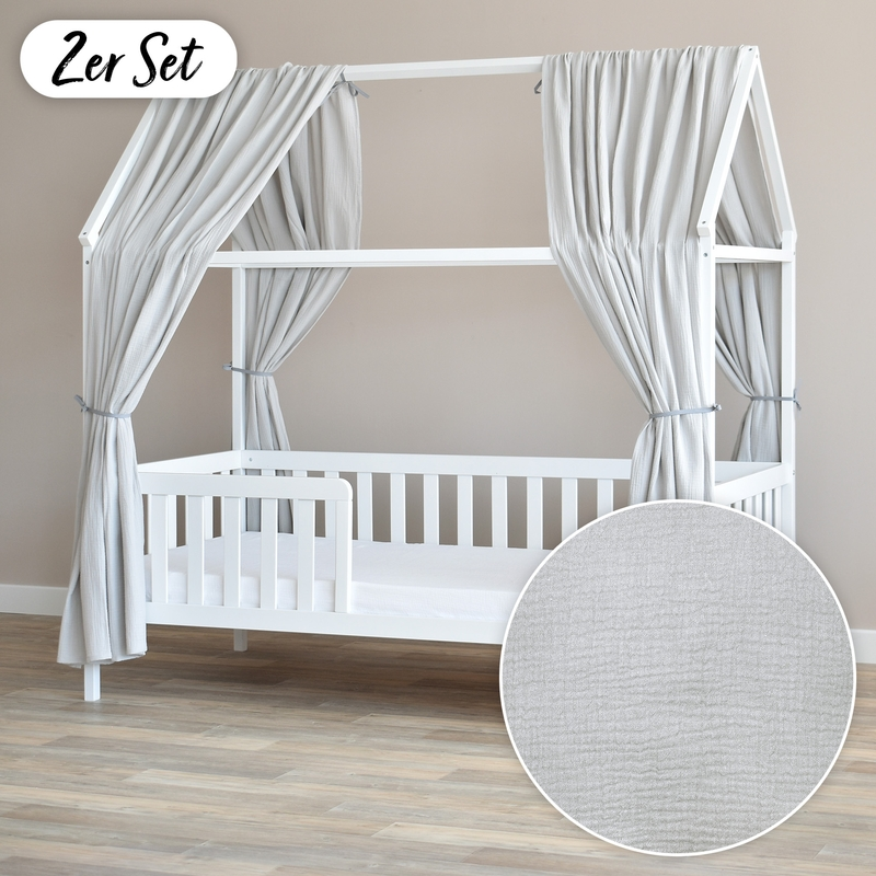 House Bed Canopy Set Of 2 Light Grey 350cm