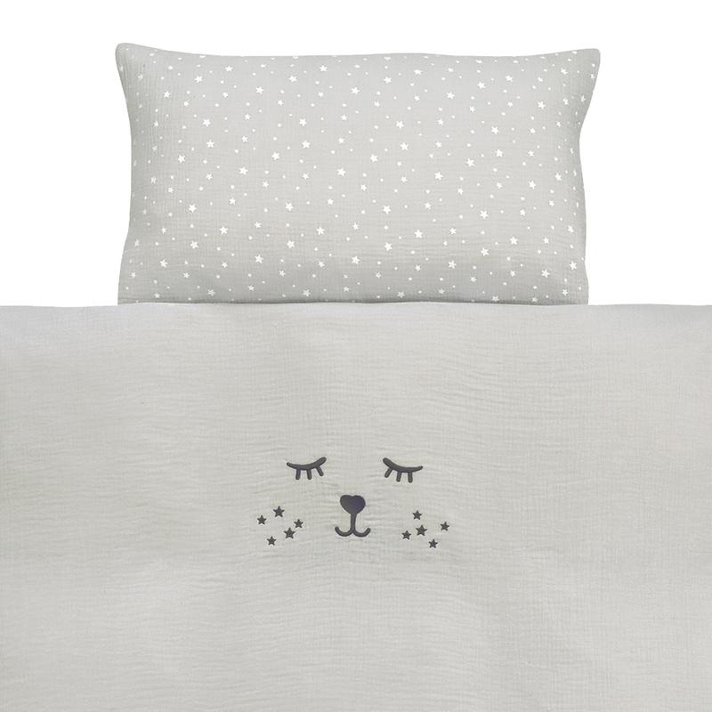 Bedding Muslin Embroidered Light Grey 100x135cm