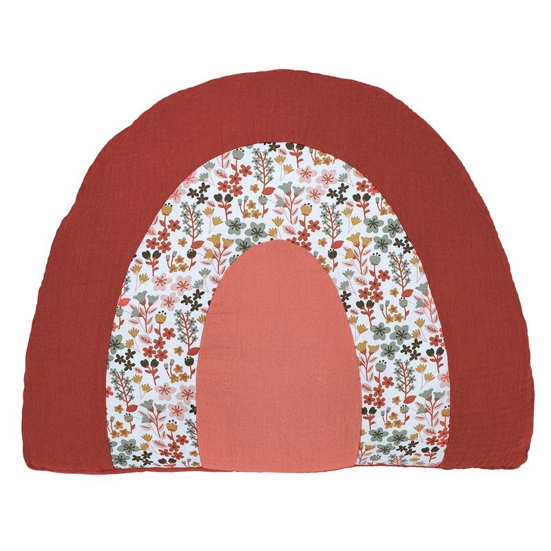 Regenbogen-Kissen 'Blumen' rostrot 40cm