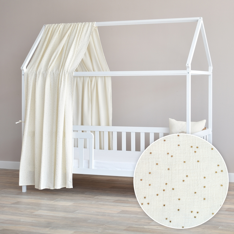 House Bed Canopy 'Dots' Cream/Gold 350cm 1 Piece