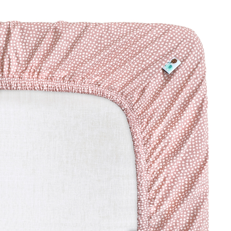 Fitted Sheet 'Hearts' Dusty Rose 70x140cm