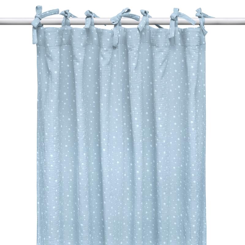 Vorhang 'Sterne' Musselin pastellblau H 240cm