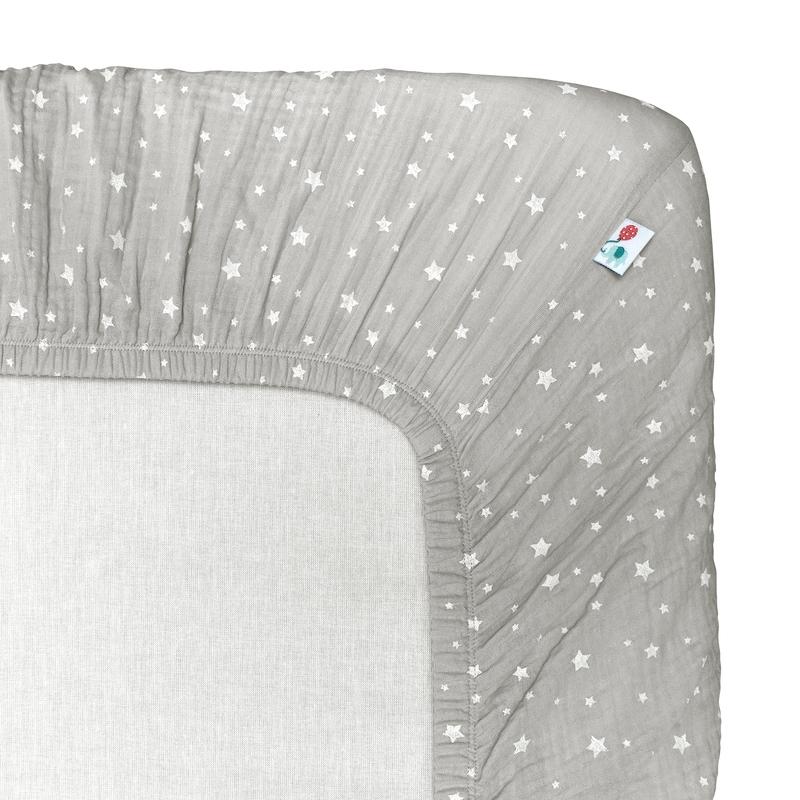 Fitted Sheet 'Stars' Muslin Light Grey 70x140cm