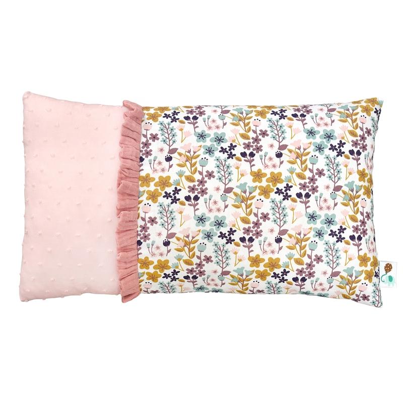 Minikissen 'Blumen' rosa/senf 20x35cm