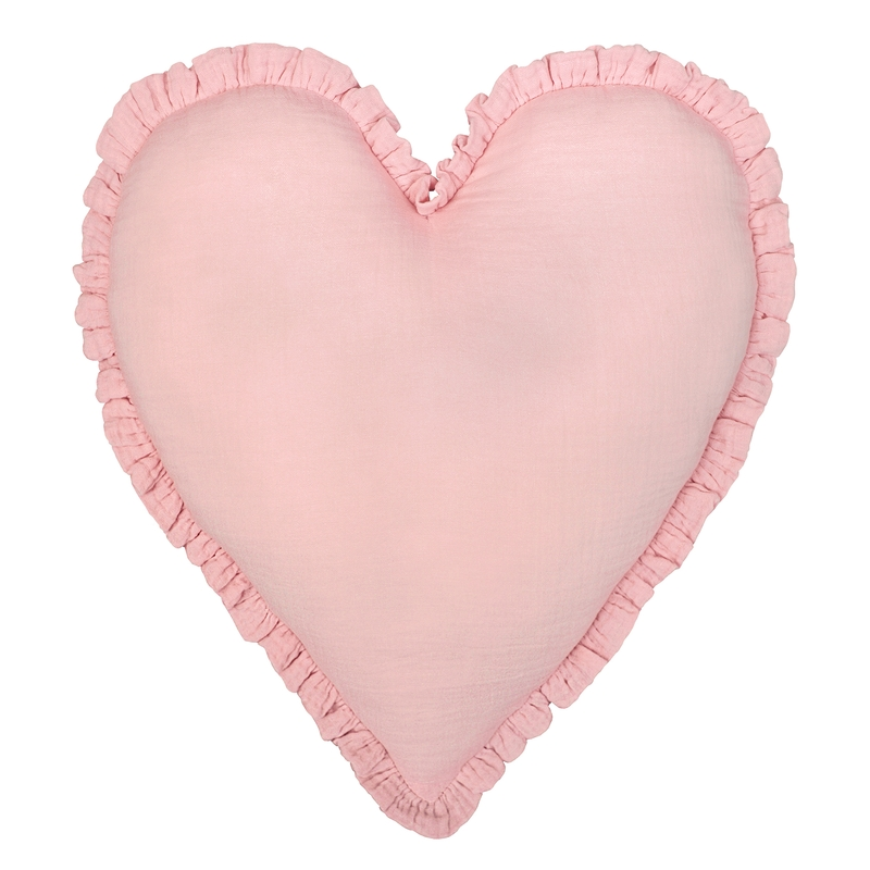 Cushion 'Heart' With Ruffles Light Pink 40cm