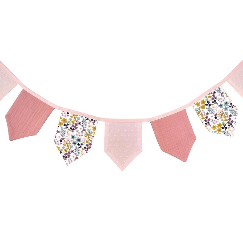 Wimpelkette 'Blumen' rosa 150cm handmade