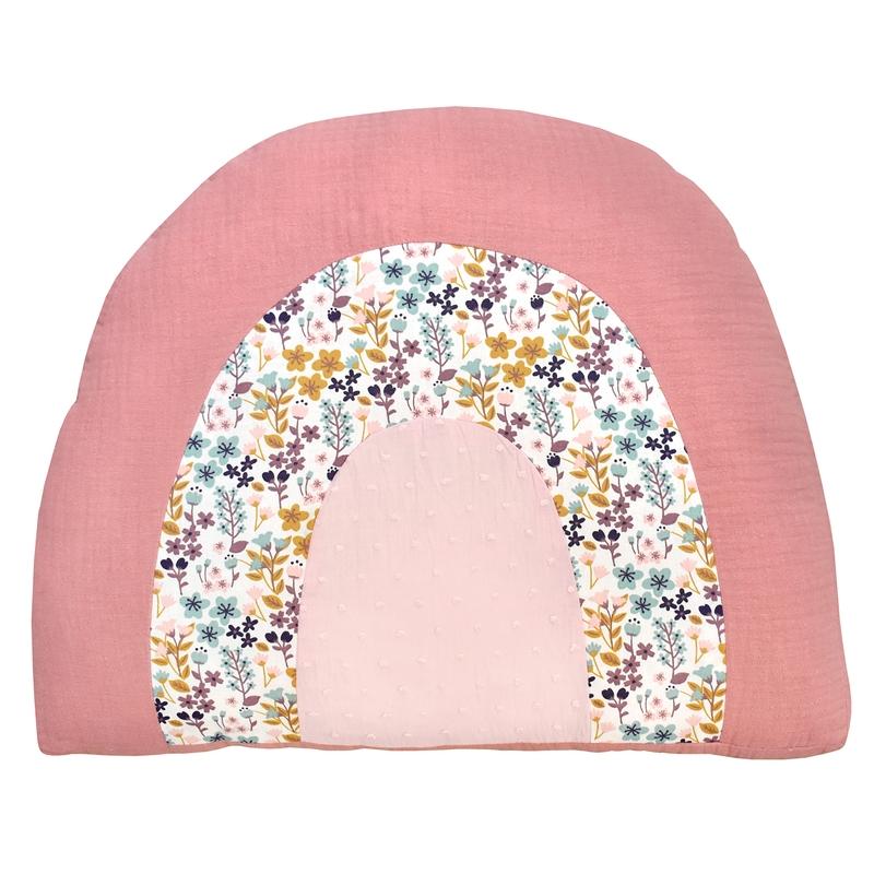 Rainbow Cushion 'Flowers' Pink 40cm