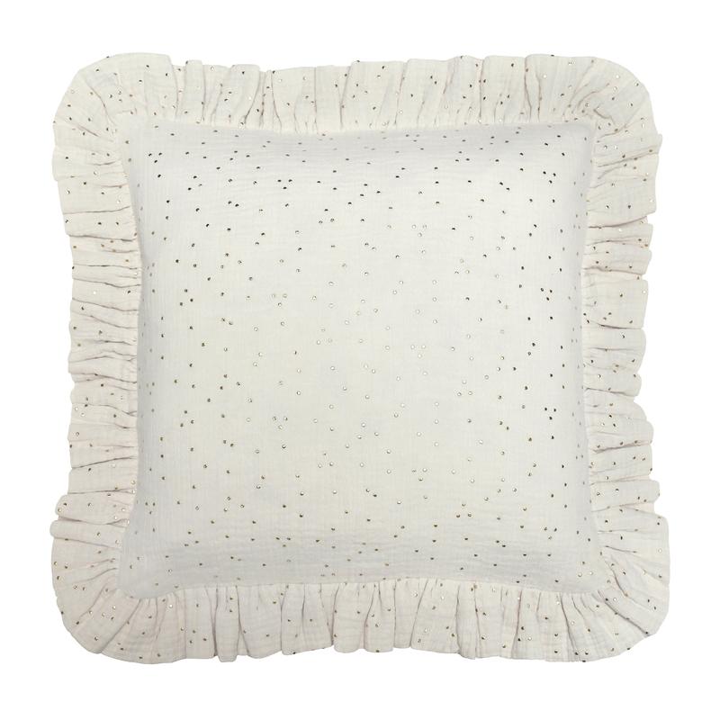Pillowcase With Ruffles 'Golden Dots' Cream