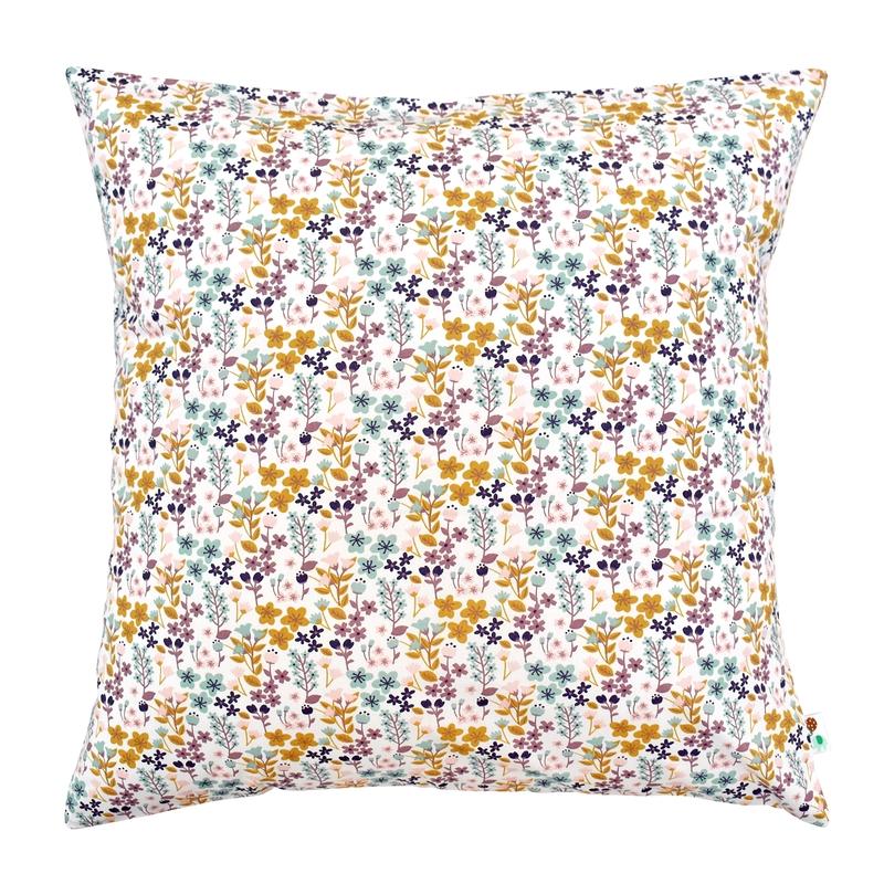 Pillowcase 'Flowers' Pink/Mustard 50x50cm