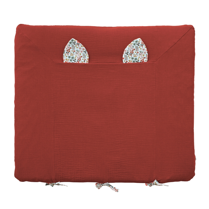 Changing Pad Cover With Ears Rusty Red