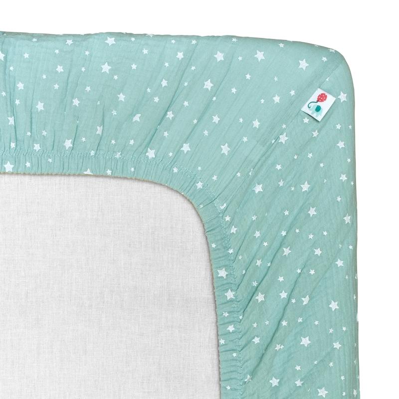 Fitted Sheet 'Stars' Muslin Mint 70x140cm