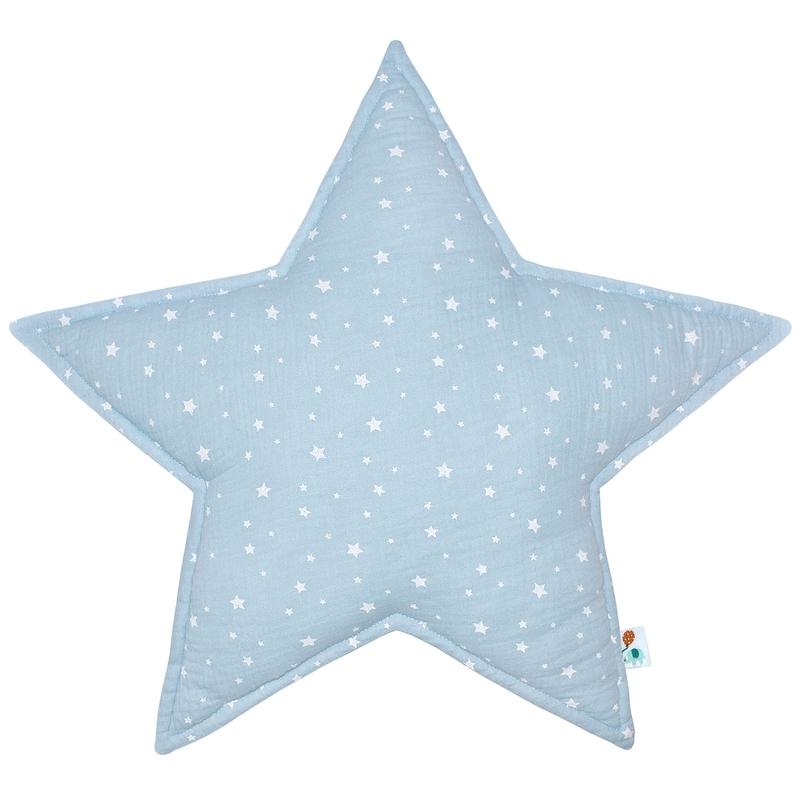 Cushion 'Star' Muslin Pastel Blue 50cm
