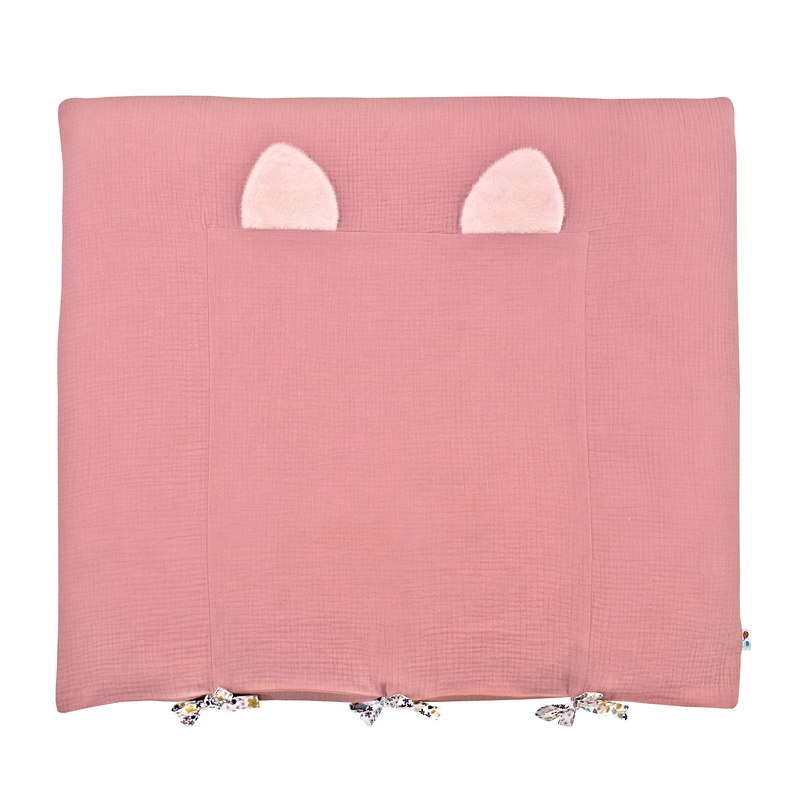Changing Pad Cover With Ears Dusty Rose