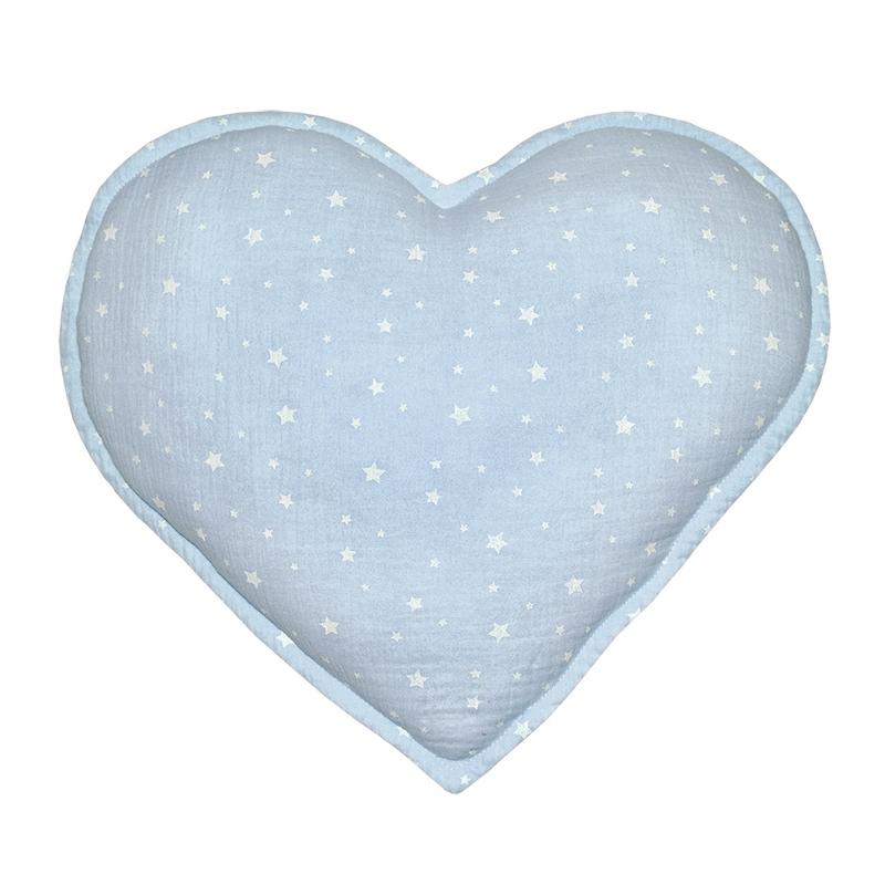 Cushion 'Heart' Muslin Pastel Blue 35cm