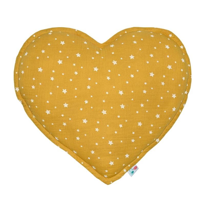 Cushion 'Heart' Muslin Mustard 35cm