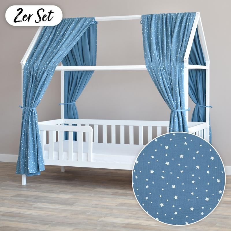 House Bed Canopy Set Of 2 'Stars' Smokey Blue 350cm