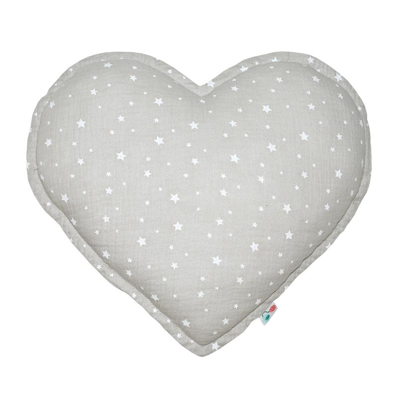 Cushion 'Heart' Muslin Light Grey 35cm