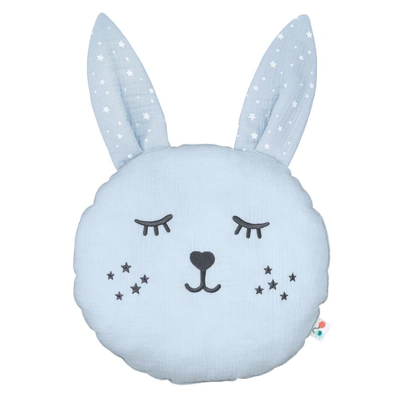 Cushion 'Rabbit' Muslin Embroidered Pastel Blue 30cm