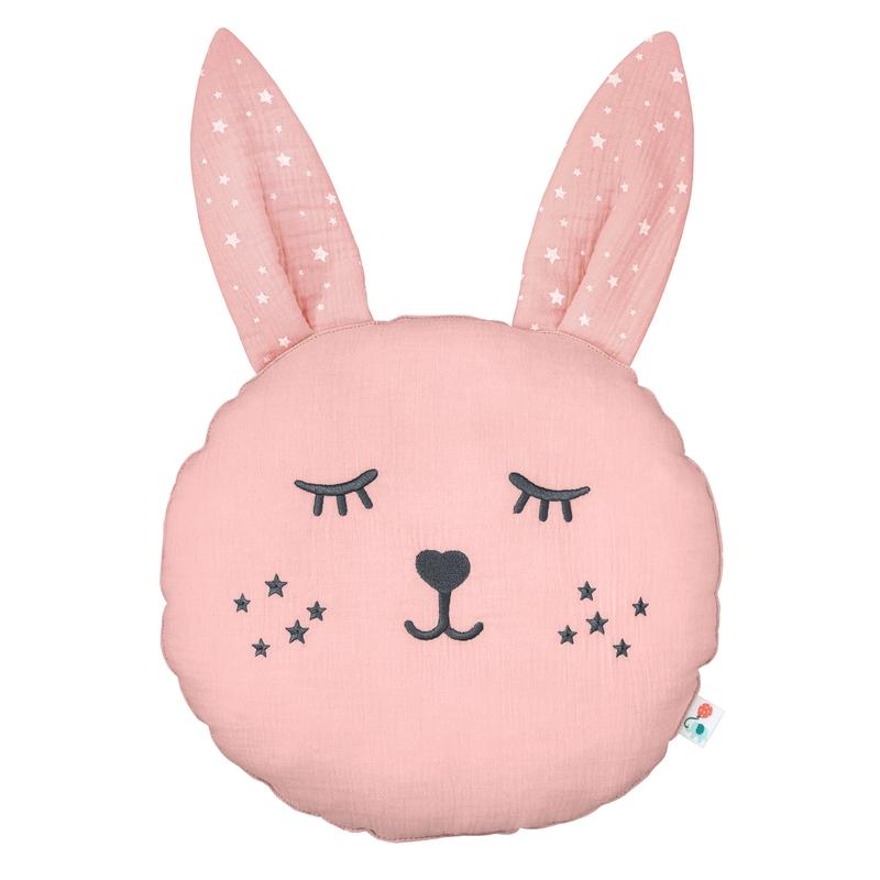 Cushion 'Rabbit' Muslin Embroidered Light Pink 30cm