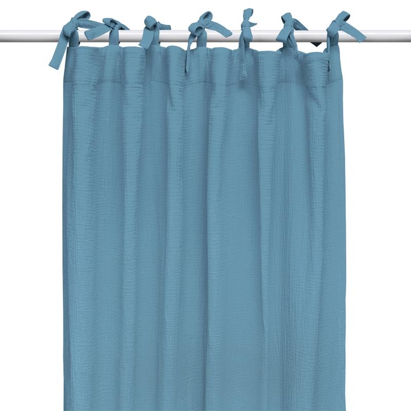 Curtain Muslin Smokey Blue H 240cm Handmade