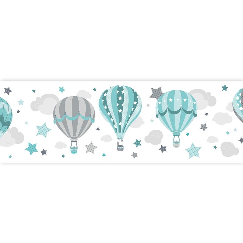 Wall Border 'Hot Air Balloons' Mint Self-adhesive