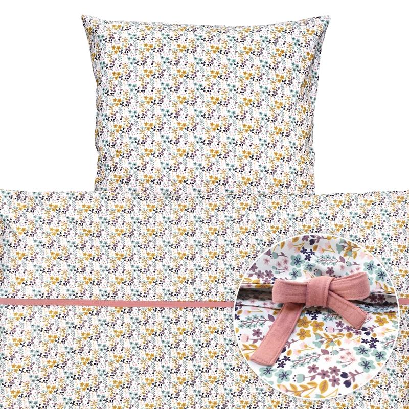 Kinderbettwäsche 'Blumen' rosa 135x200cm